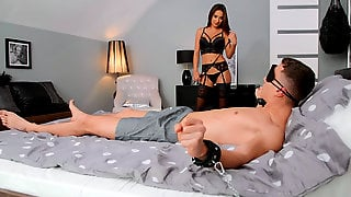 Russian Liya Silver In Sexy Lingerie Came To The Tied Dude