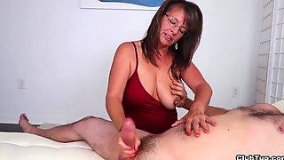 Big Tits, Natural, Cfnm, Glasses, Handjob