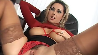 Secretary Mandy In Red High Heel Sandals Screws Her Boss
