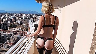 AIRBNB SCANDAL BIG TITS LUXURY BLONDE COLLEGE SLUT STOCKINGS REDPILLGIRL