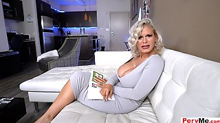 Stepmoms Sexy Bleached White Hair And Mega MILF Titties