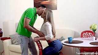 Cute Girl Calibri Is Making Love With Her Boyfriend While Parents Are At Work