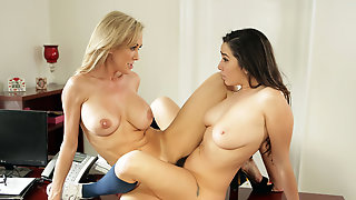 Busty Milf Teacher Lets Her Lesbian Student Eat Her Pussy