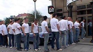 Slutty Brunette Fucked Hard By 30 Men In This Gangbang Film