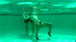 Slender Brunette Teen Feeds Her Lust For Bondage In The Pool