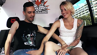 Tattooed German Madam Sina Longlegs Pops Her Pussy For An Eager Cock