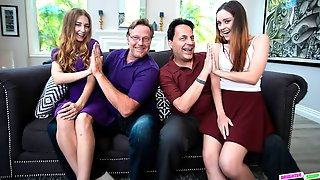 Two Teens Audrey Hempburne And Lily Glee Are Fucking With Two Dads