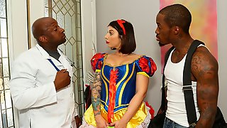 Adorable Busty Brunette Ivy Lebelle Is Swallowing Two Interracial Loads