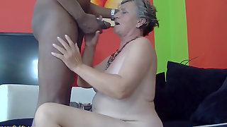 Busty 80 Years Old Grannie First-ever Time Interracial Boinked