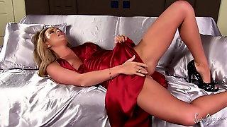 Natalia Forrest Red Silk Dress In The Fan