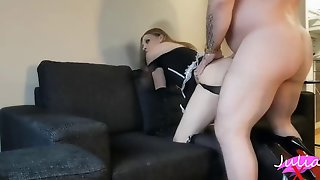 Beautiful Shemale In Maid Outfit Fucked Balls Deep Doggy Style