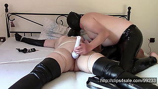 Angela With Leather Rubber Hood In Spread-eagle (shaving Pussy)