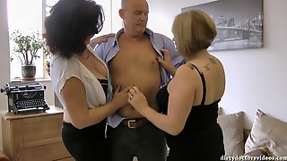 Whore Granny Threesome Porn Scene