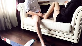 Sultry Asian Babe Gives A Hot Footjob And Gets Nailed Deep