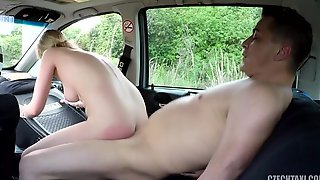Gorgeous Big-boobed Passenger Is Having Sex With A Fake Driver
