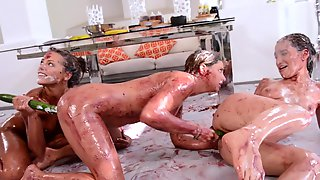Mad Lesbian Sex In Food