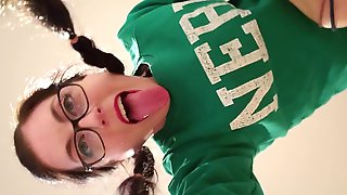Nerdy Girl In Glasses Loves Getting Fucked In The Ass