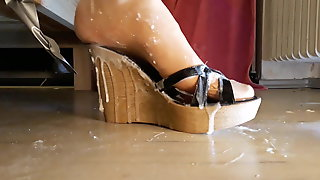 High Heel Wedges Dildo Cum And Shoejob