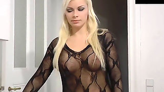 Cool Blonde Woman Ravaged In Bodystocking