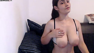 Cute Girl With Big Jiggly Tits And Large Areolas