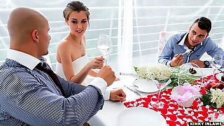 Elegant Bride In A White Dress Cindy Shine Cheats Before The Ceremony