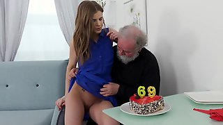 Old Man Turns Sixty-nine And He Wants To Fuck Teen As A Gift