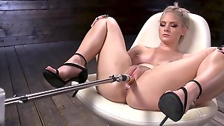 Naked Blonde Stretched Properly With New Fucking Machine