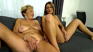 Old And Young Lesbian Act Of Sex-hungry Granny And Teen Chick