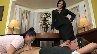 Two Women Are Having A Contest In A Hot And Sexy Threesome