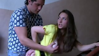 A Busty Harlot Gets Her Clothes Ripped Off And She Sucks Dick