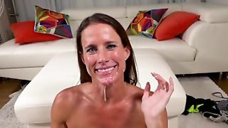 Sofie Marie Wipes Cum Off Her Face And Licks Her Fingers Cuckolding Her Man