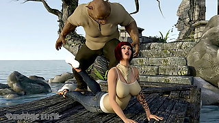 Pig Monster Brutally Plows Busty Redhead MILF. Three Dimensional Pornography Comic