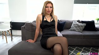 Sizzling Milf In Stockings And Short Dress Is Flashing Nice Wet Pussy