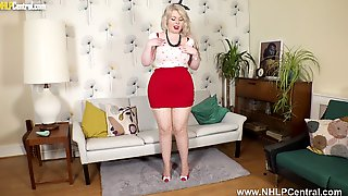 Curvy Blonde Danni Marie Strips And Plays In Nude Pantyhose And Stilettos