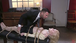 Sexy Blonde Chloe Cherry Is Tied Up And Fucked In Her Deep Throat And Wet Pussy