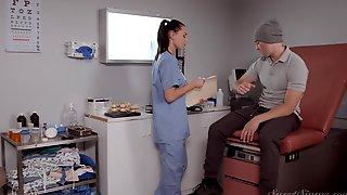 Brunette Nurse Aidra Fox Rides A Long Shaft Of Her Patient