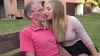 Grandpa Teaching  Blonde Anal Fuck Positions