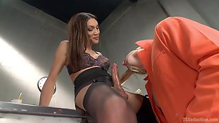 Shemale Ass Fucks Obedient Man Until The Sperm Comes Out
