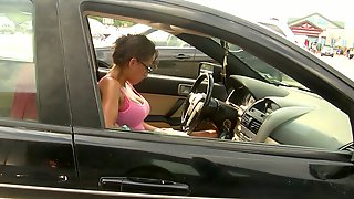 Watching That Tight Bodied Babe With Big Boobs Eat Her Food In Her Car