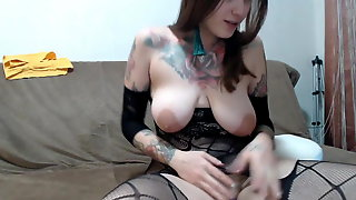 Camgirl Shows Perfect Saggy Tits While Ugly Boyfriend Wanks