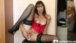 Astonishing MILF Uses A Dildo To Pleasure Her Tight Wet Pussy With A Toy