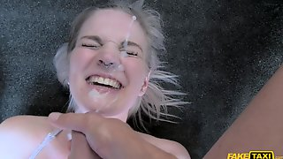 British Blonde Slut Gets Her Face Covered With Sticky Jizz