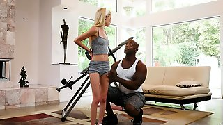 Piper Perri Needs To Stretch Her Body Before Riding A Fat Black Cock