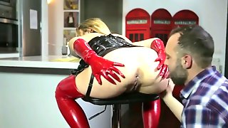 Blond Hair Bitch Got Laid In Red And Black Latex Facial