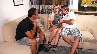 Fake Tits German Slut Fucked By Two Horny Men