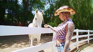 Tattooed Slut Karma RX Gets Fucked In Threesome On The Farm
