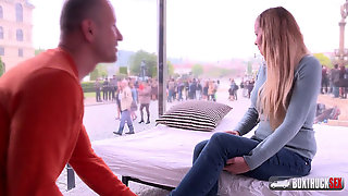 Slender Light-haired Candy Alexa First-ever Time Nailing In Public
