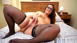 Curvy Milf In Sheer Black Stockings