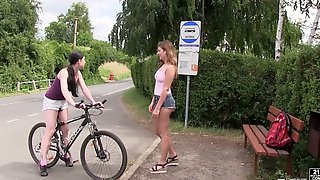 Svelte Really Horny Lexi Rain Turns Bike Fun Into Lesbian Sex Outdoors