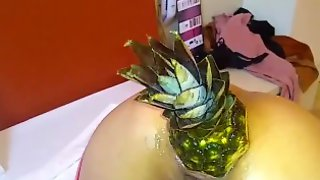 Fucking Her Ass With A Huge Pineapple